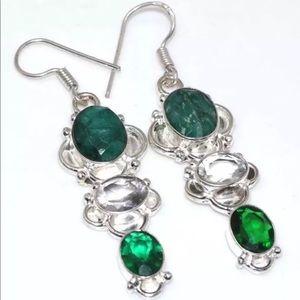 Green & White Emerald Colored Quartz Earrings